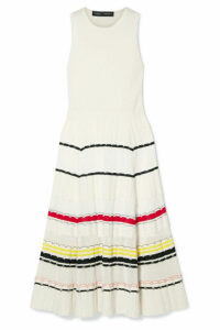 Proenza Schouler - Striped Stretch-knit Midi Dress - Cream