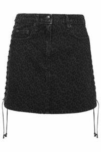 McQ Alexander McQueen - Lace-up Leopard-print Denim Mini Skirt - Black