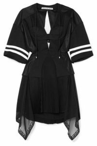 Alexander Wang - Striped Cutout Pleated Mesh And Georgette Mini Dress - Black