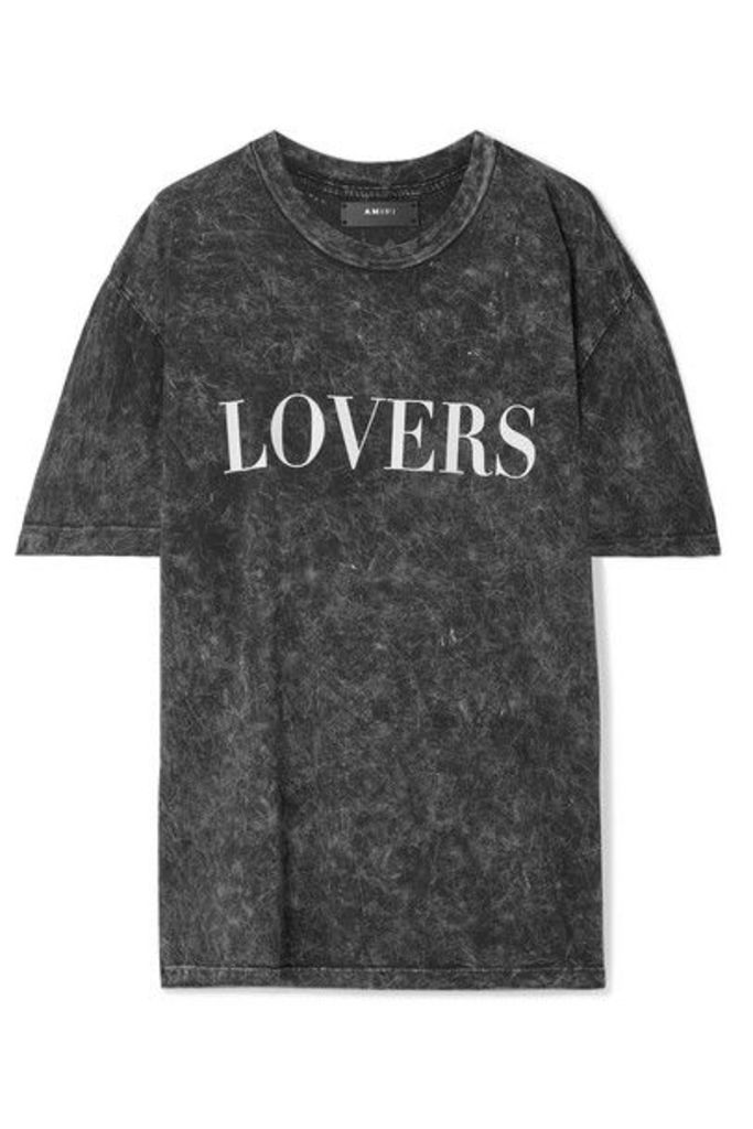 AMIRI - Lovers Oversized Printed Acid-wash Cotton-jersey T-shirt - Black