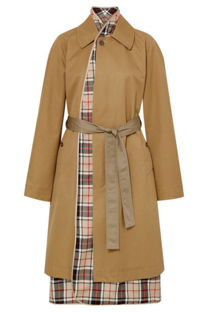 Balenciaga - Layered Cotton-gabardine And Checked Wool Trench Coat - Sand