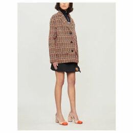 Geometric-print woven coat