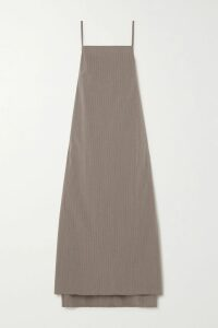 Monse - Asymmetric Wrap-effect Striped Voile And Cotton-drill Midi Skirt - Army green