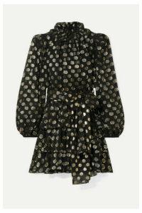 Dolce & Gabbana - Polka-dot Metallic Fil Coupé Silk-blend Chiffon Mini Dress - Black