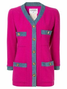 Chanel Pre-Owned CHANEL Long Sleeve Coat Jacket - Pink