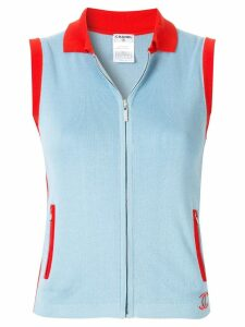 Chanel Pre-Owned CHANEL sleeveless top - Blue