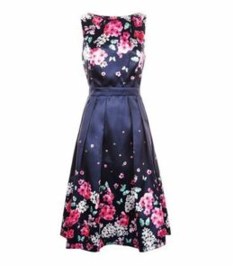 Mela Blue Floral Print Prom Dress New Look