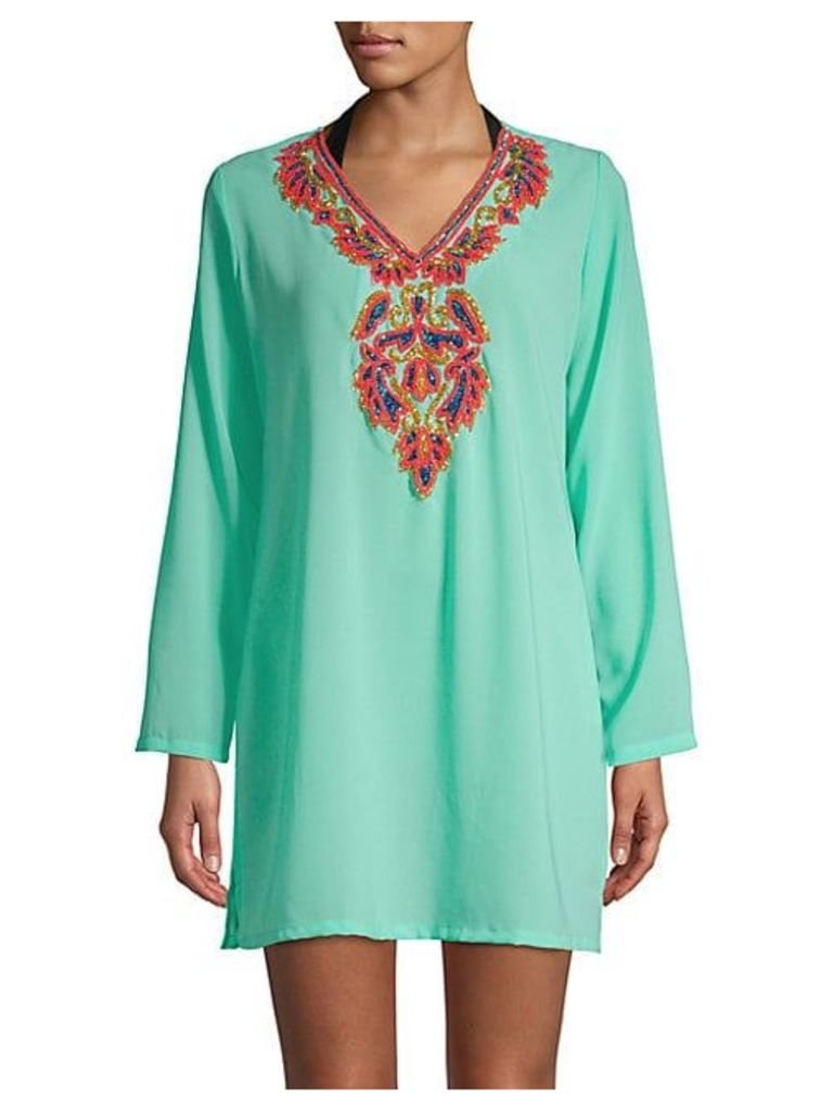 Beaded Long Sleeve Cover-Up