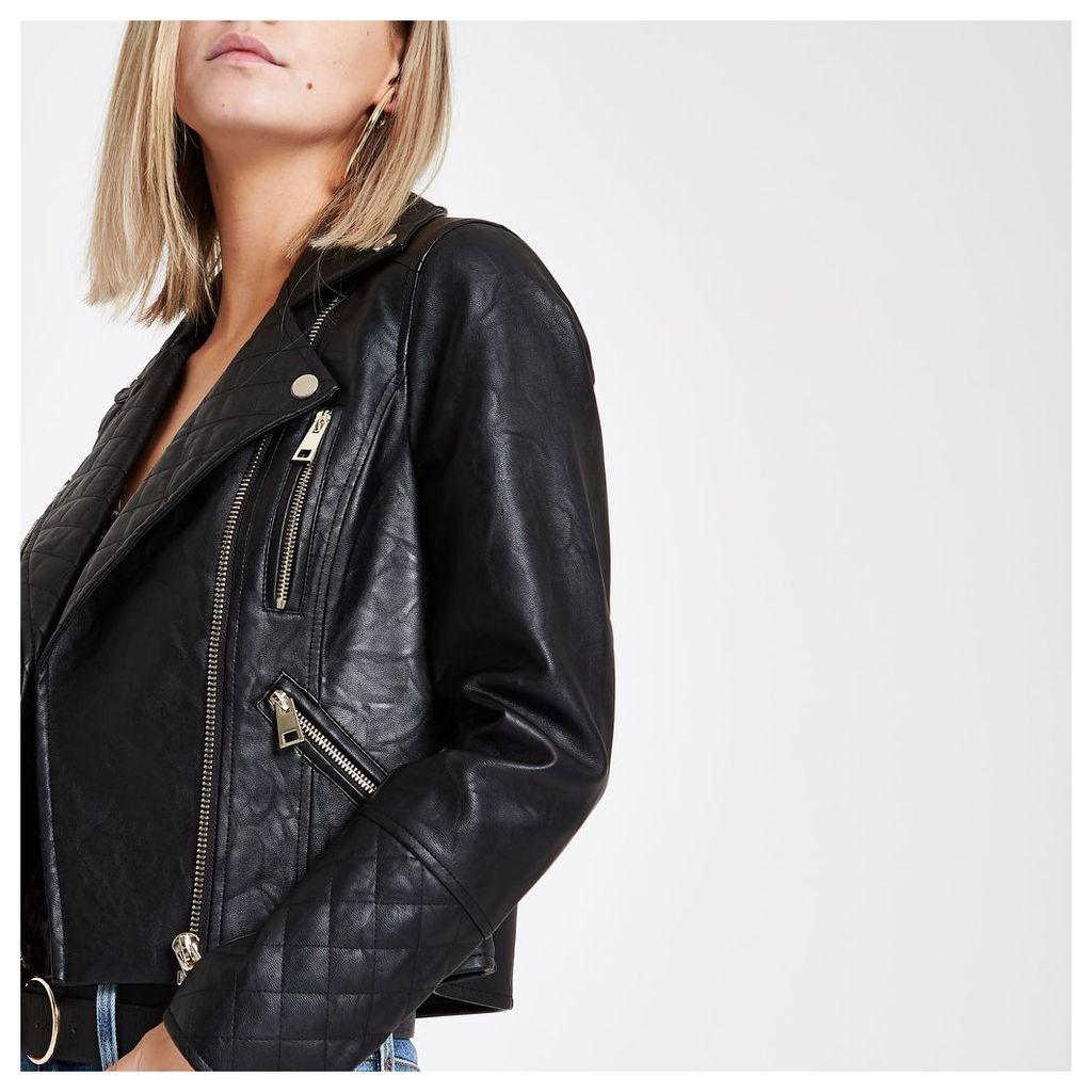 Womens Petite Black faux leather biker jacket