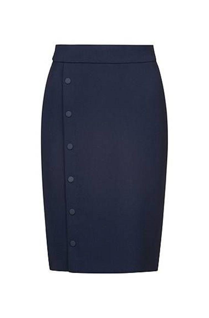 Slim-fit pencil skirt with snap-closure trim