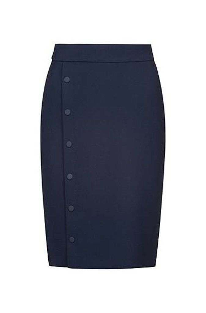 Slim-fit pencil skirt with snap-closure trim