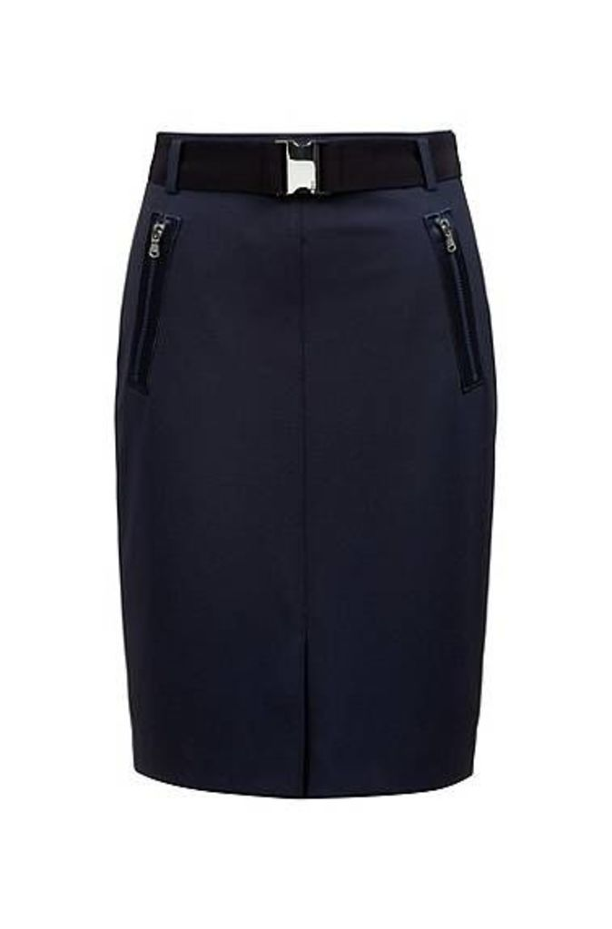 Slim-fit pencil skirt with belt and zipped pockets