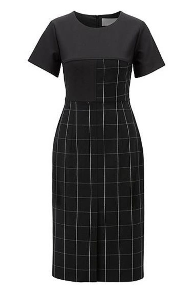 Shift dress in checked fabric with solid-colour sleeves