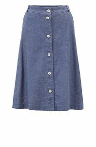Button-through knee-length skirt in denim-inspired fabric