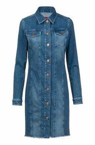Slim-fit shirt dress in Italian comfort-stretch denim