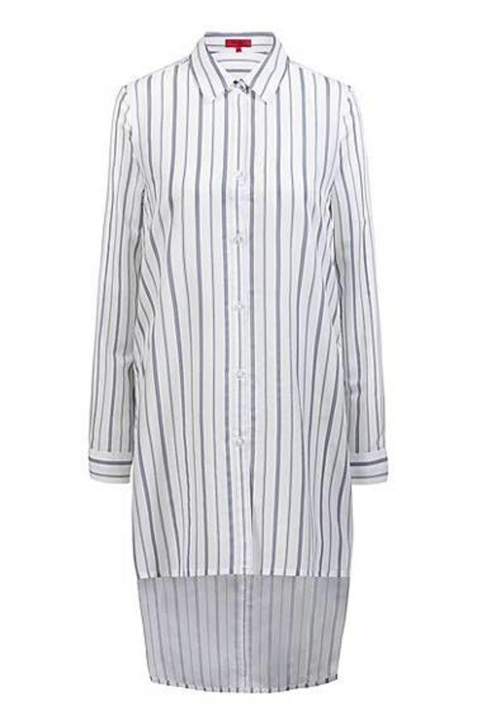 Longline striped blouse with stepped back hem