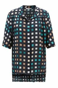 Relaxed-fit silk blouse with exclusive multi-coloured print