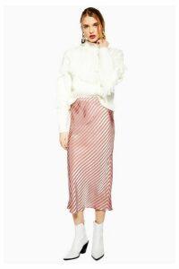 Womens Stripe Satin Bias Midi Skirt - Taupe, Taupe