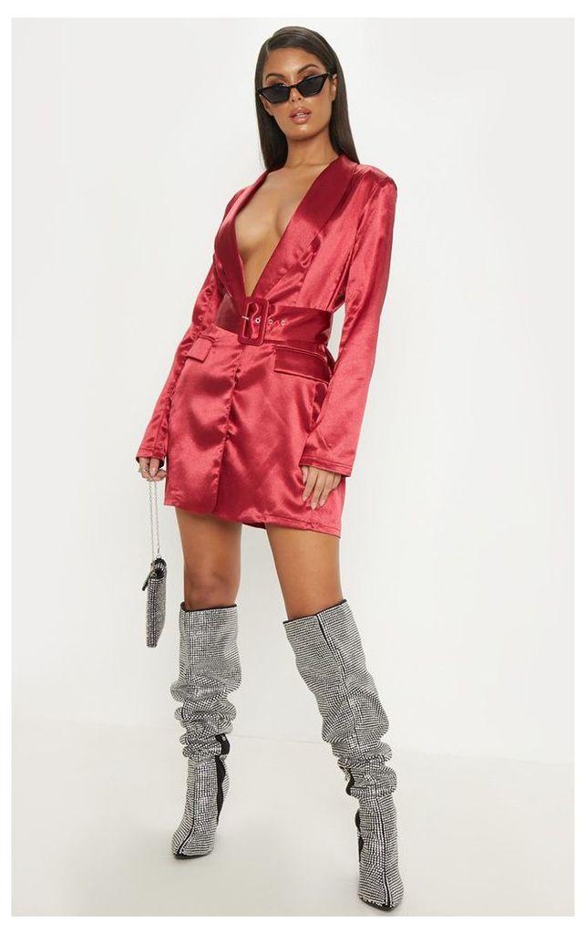 Dark Red Satin Belted Blazer Dress, Dark Red