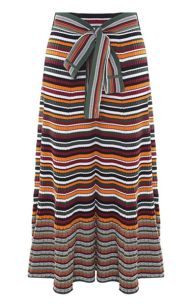 3.1 Phillip Lim Striped Rib-knit Belted Maxi Skirt