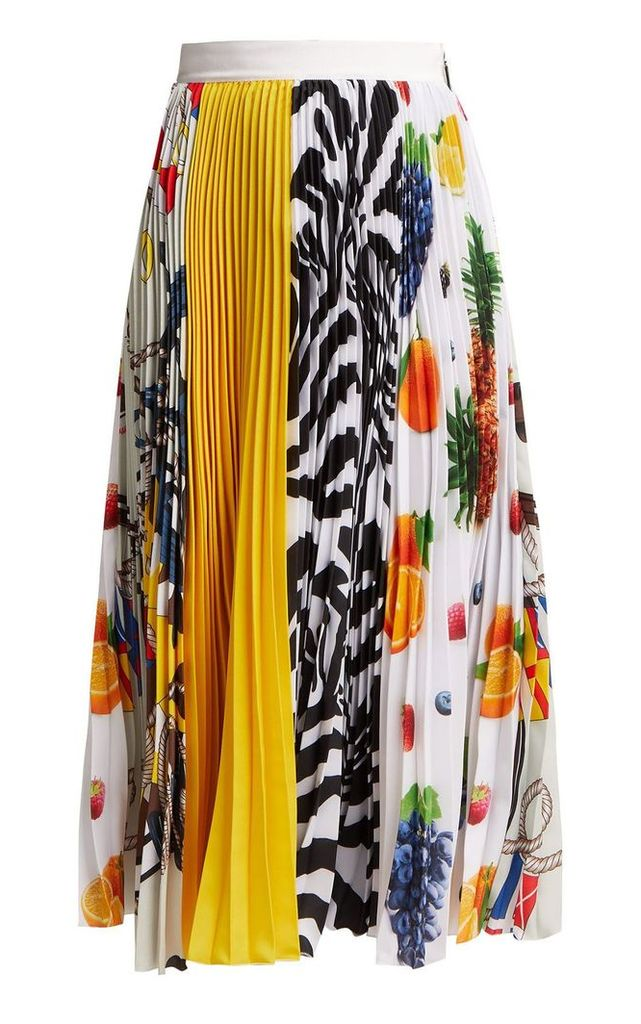 MSGM Iconic Patchwork-print Pleated-crepe