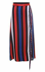 MSGM Fringe-trim Striped-satin Skirt