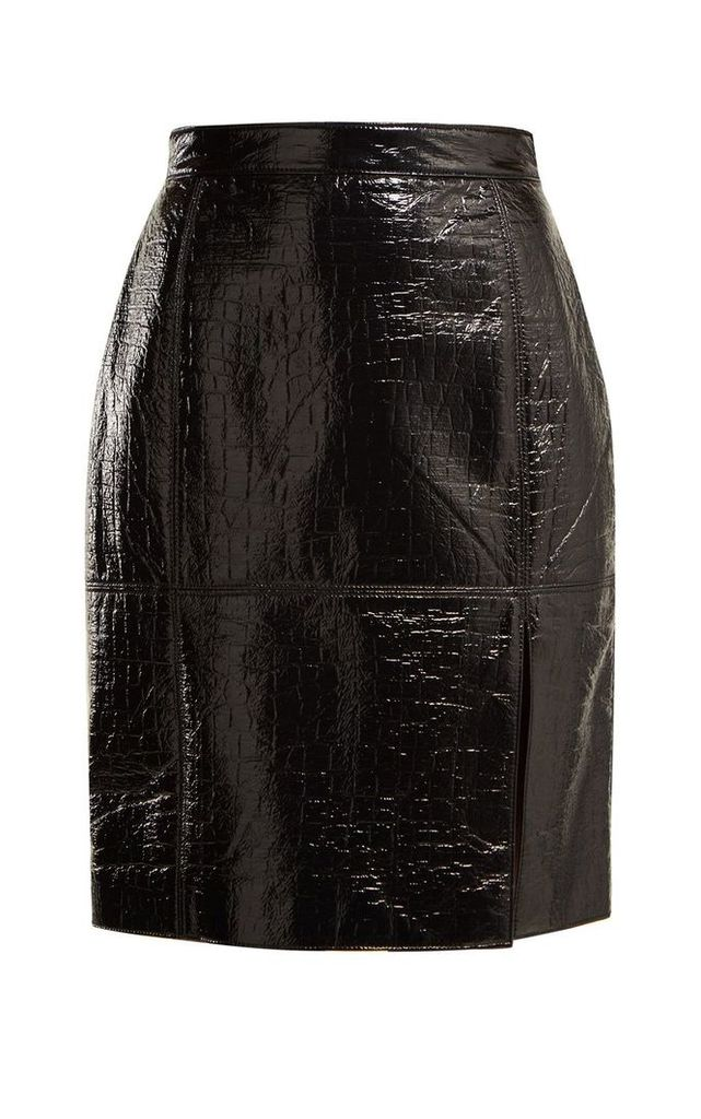 MSGM Crocodile-effect Coated-cotton Blend Pencil Skirt