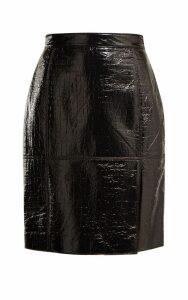 MSGM Crocodile-effect Coated-cotton Blend Pencil Skirt