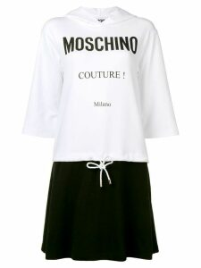 Moschino logo print hooded dress - White