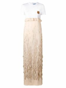Prada embroidered chiffon dress - White