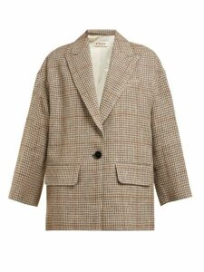 Masscob - Norman Houndstooth Linen Blend Blazer - Womens - Multi