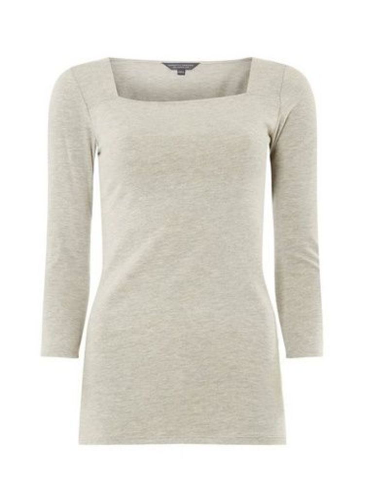 Womens **Tall Grey Square Neck Top- Grey, Grey