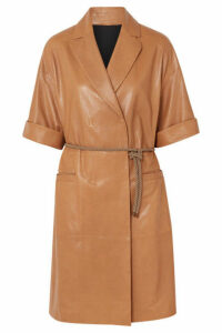 Brunello Cucinelli - Belted Leather Coat - Brown