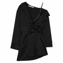 Alexander Wang Black Logo-jacquard Satin Shirt Dress