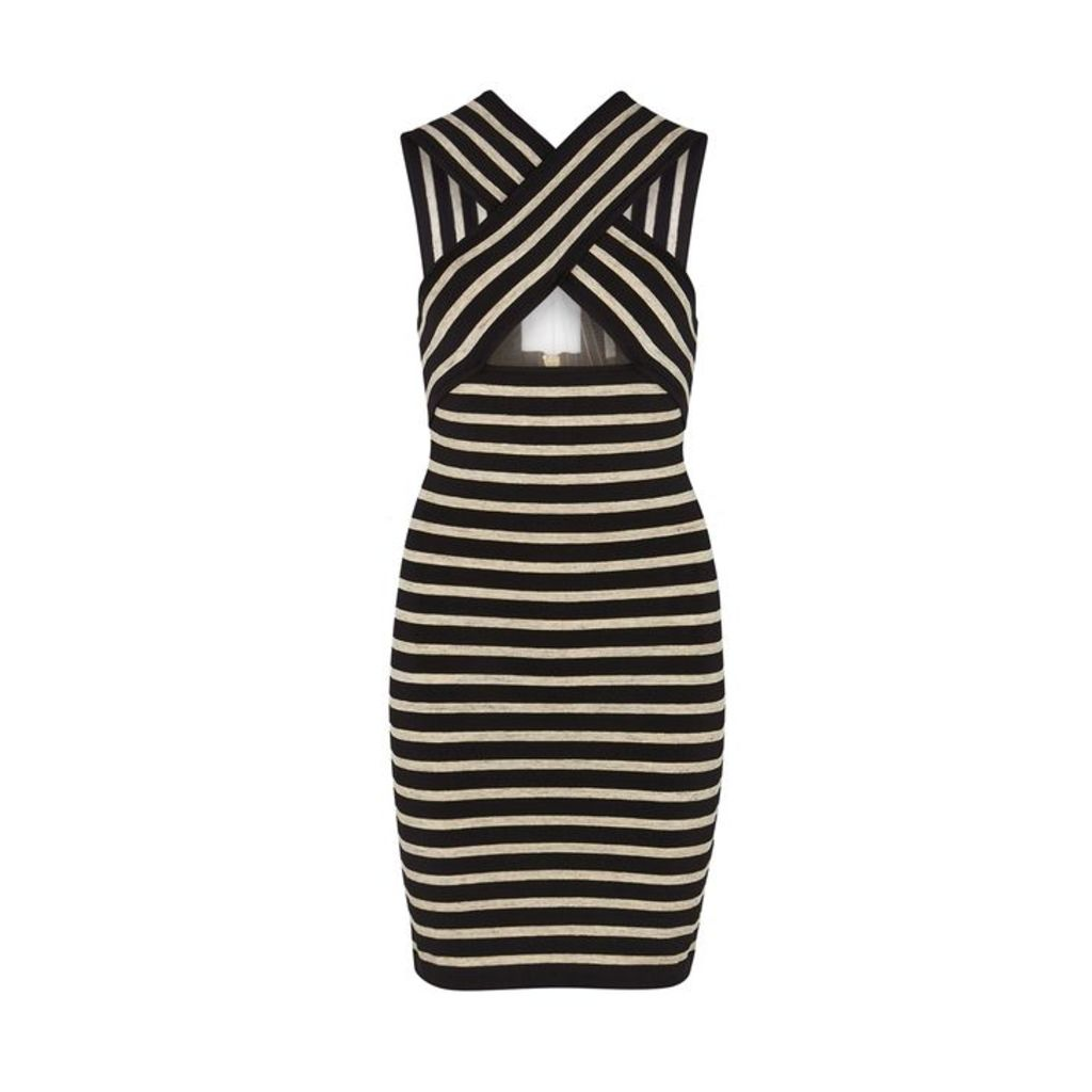 Balmain Striped Stretch-knit Mini Dress