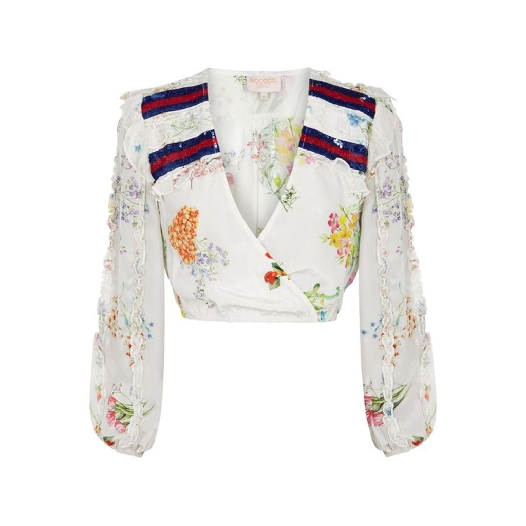 Rococo Sand Ayaka Floral-print Cropped Satin Top