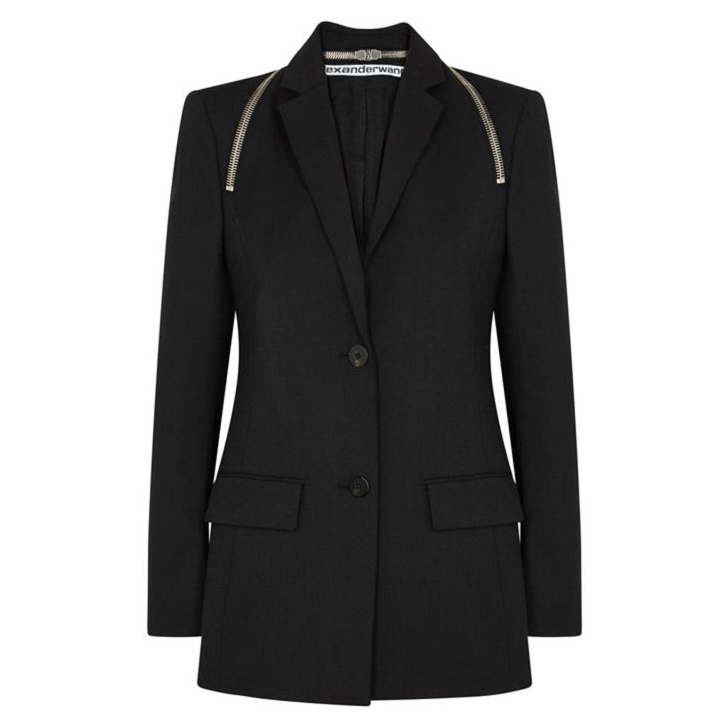 Alexander Wang Black Zip-embellished Blazer