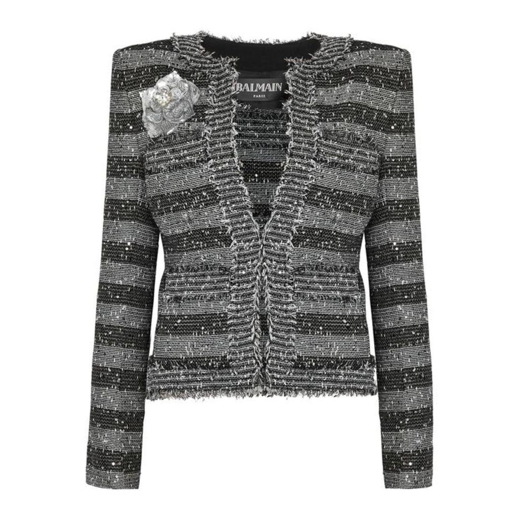 Balmain Striped Sequin-embellished Tweed Blazer
