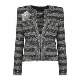 Balmain Striped Sequin-embellished Tweed Blazer