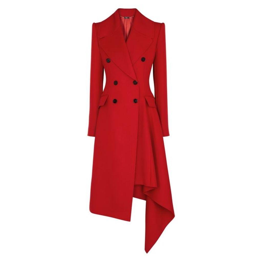 Alexander McQueen Red Draped Wool-blend Coat