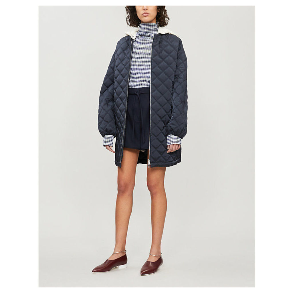 Goldfish quilted shell hooded coat