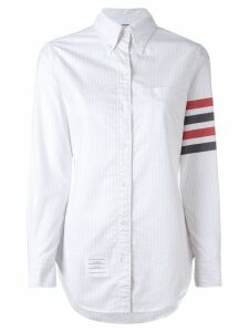 Thom Browne Long Sleeve Button Down With Woven 4-Bar Stripe In