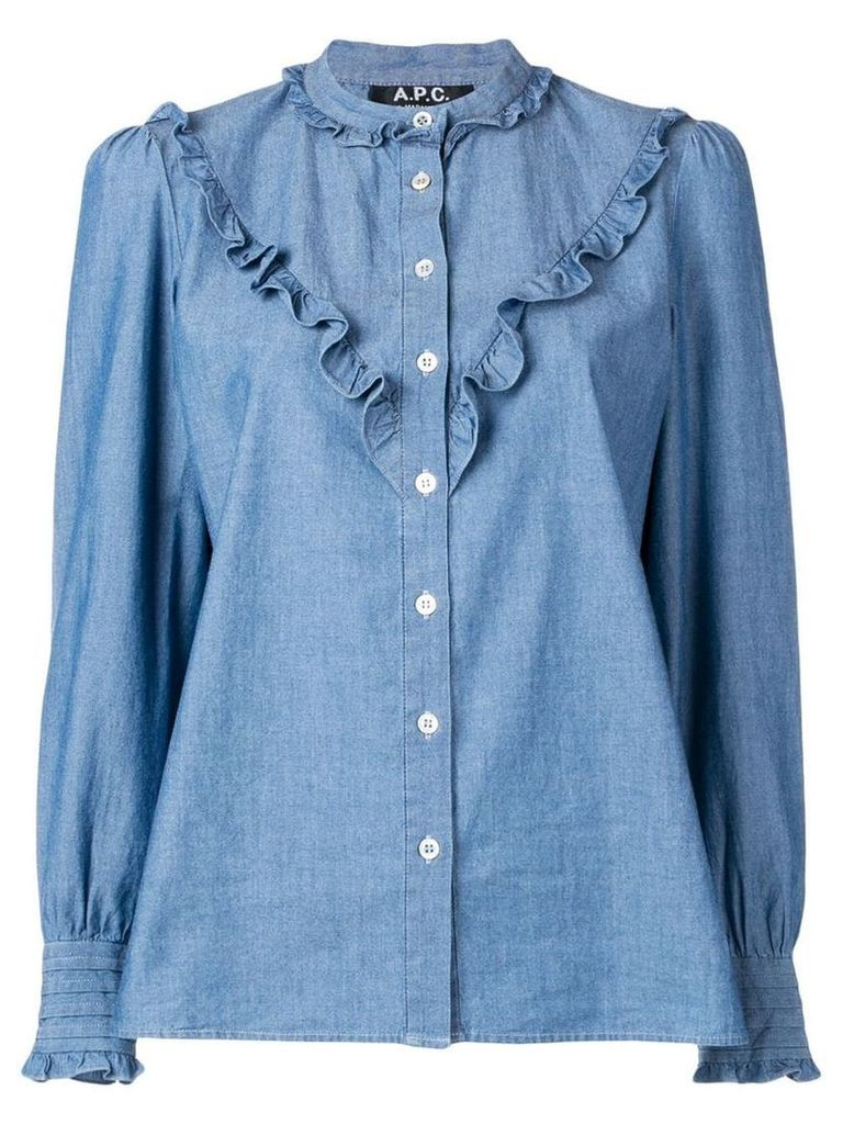 A.P.C. frill trim shirt - Blue