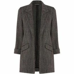 Anastasia  -Black Herringbone Unlined Jacket  women's Coat in Black