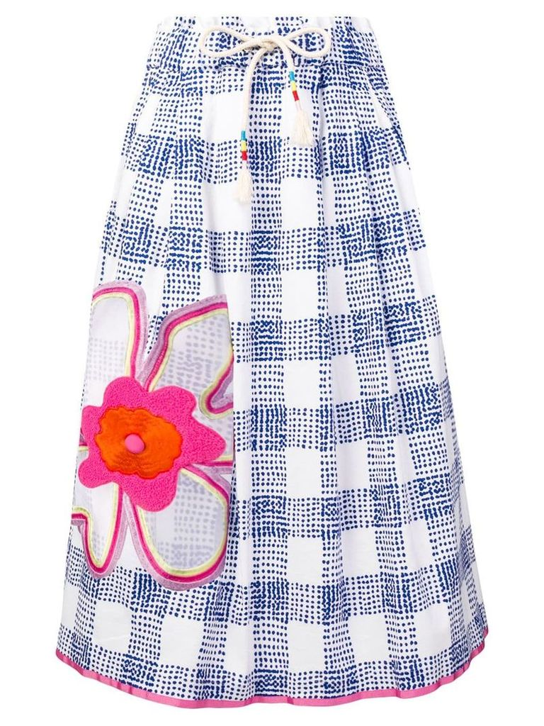 Mira Mikati flower embroidered skirt - Blue