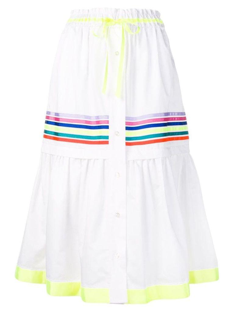 Mira Mikati stripe panel tiered skirt - White