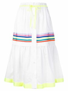 Mira Mikati stripe panel tiered skirt - White