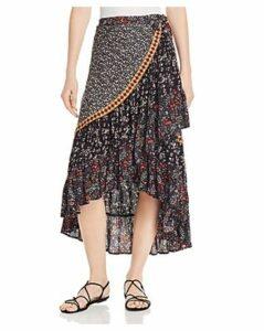 Free People Esmerelda Mixed-Print Wrap Skirt