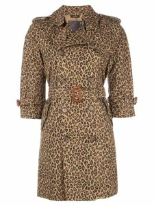 R13 leopard trench coat - Brown