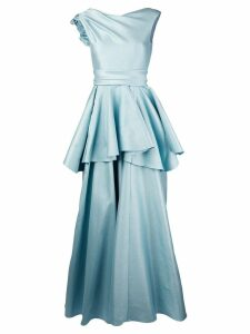 Talbot Runhof lamé evening dress - Blue